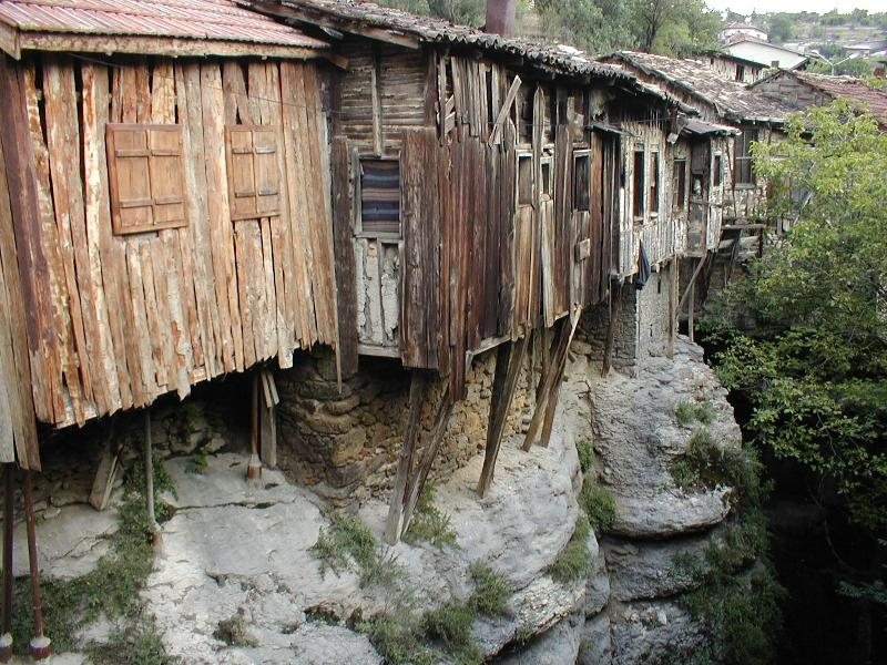 The wooden stores of Safranbolu over a deep canyon.