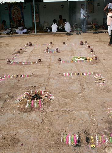 Ritual place at the Kaveri River in Srirangam, Tamil Nadu.
