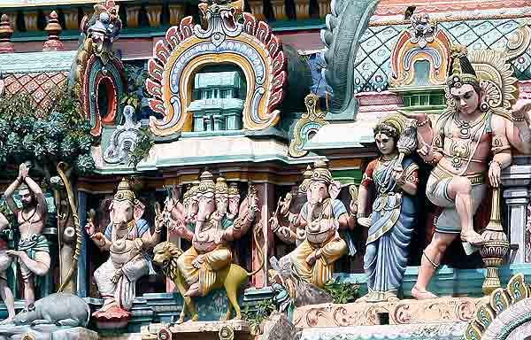 Detail from a temple gopuram in Chidambaram, Tamil Nadu.