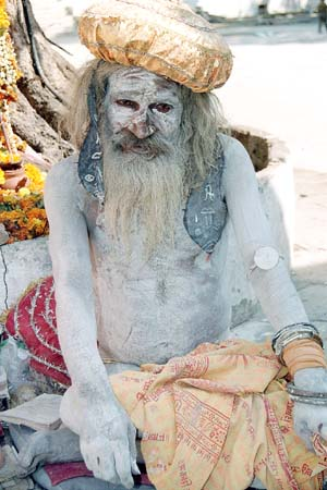 Saddhu coated with ashes from a cremation
