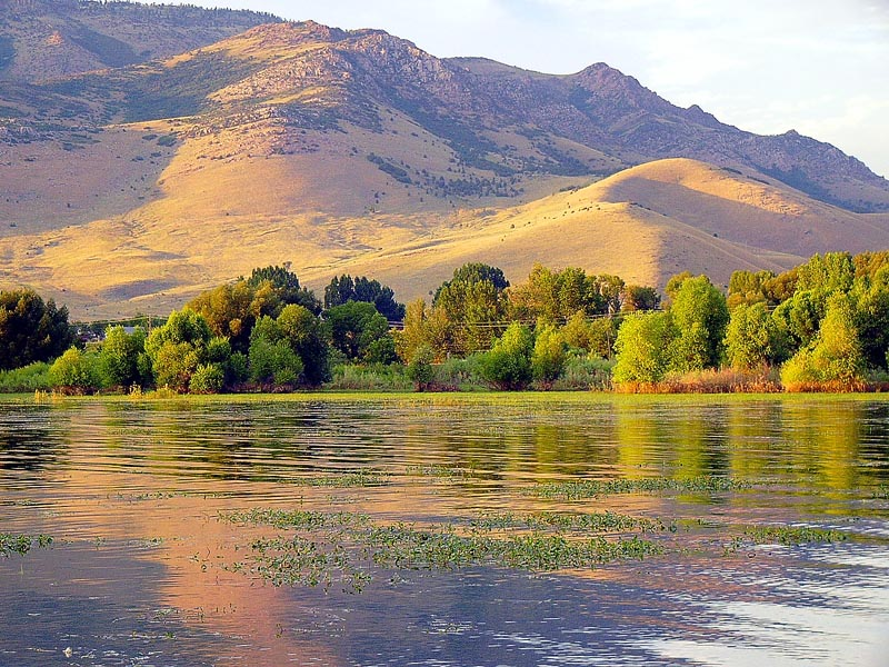 The Evening Sun Light up the Shoreline at Pineview Reservoir