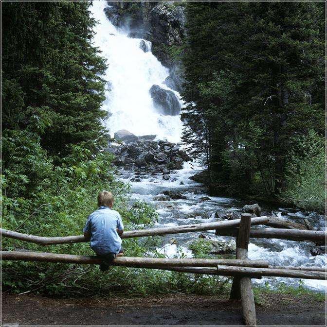 A bird boy near waterfall