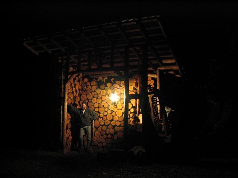Woodshed and lantern