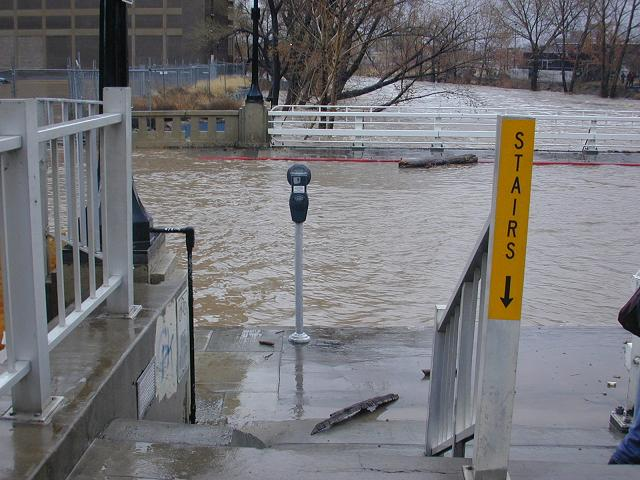 stairs down to flooded street