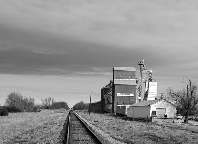 Tracks Past Grain Elevator