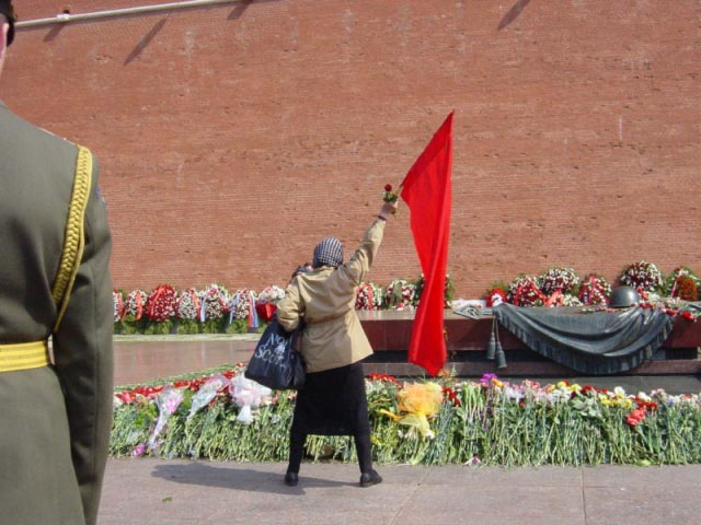Old women with communist flag
