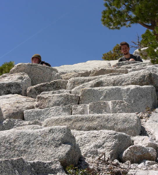 Up the granite steps on sub dome
