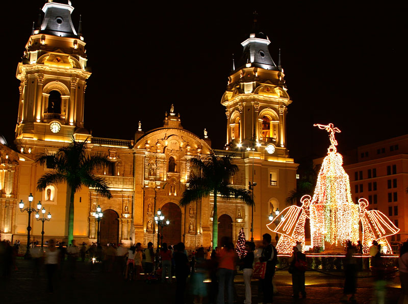 Lima Cathedral at Xmas time