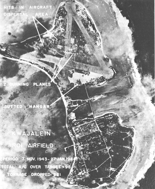 WWII aerial photo of Roi-Namur