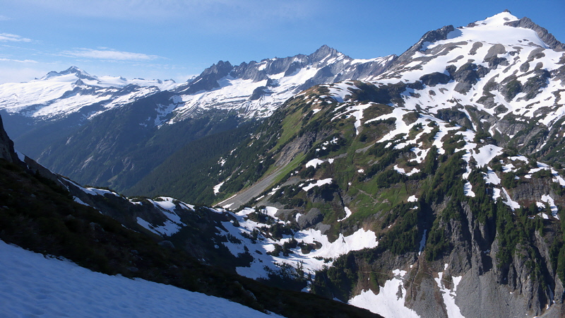 Sahale, Forbidden Peak, and Eldorado across Cascade Pass