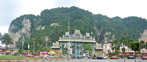 Hindu temple complex at Batu Caves, around 15 km nort of Kuala Lumpur
