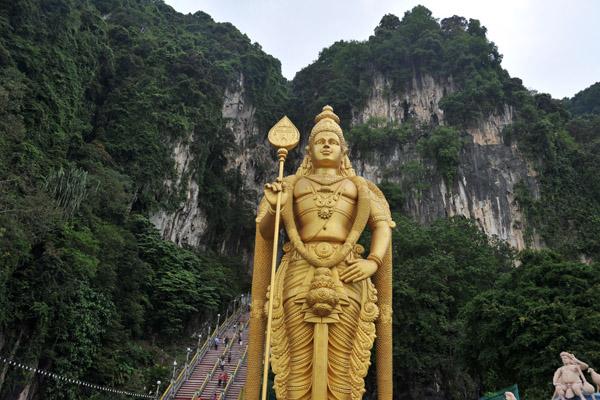 Murugan in front of the Batu Caves