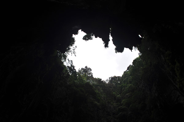 The rear grotto is open to the sky through this large hole