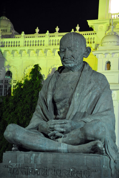 Mahatma Gandhi statue in front of the A.P. State Assembly