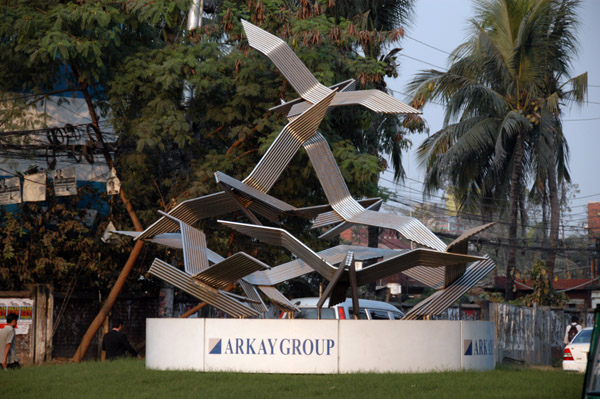 Modern sculpture in Dhaka - birds made of pipes