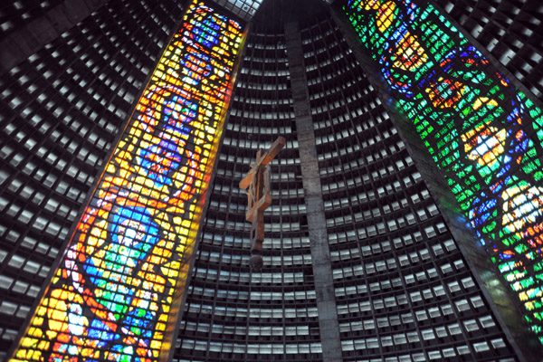 Conical interior of the New Cathedral of Rio de Janeiro
