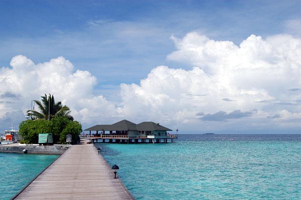 Dock to the harbor and Italian restaurant, Paradise Island
