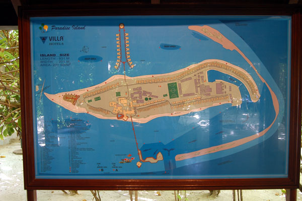 Map of Paradise Island, less than 1 km long