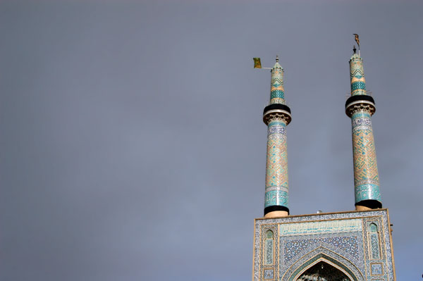 Distinctive twin minarets - 48m - of the Jameh (Friday) mosque of Yazd