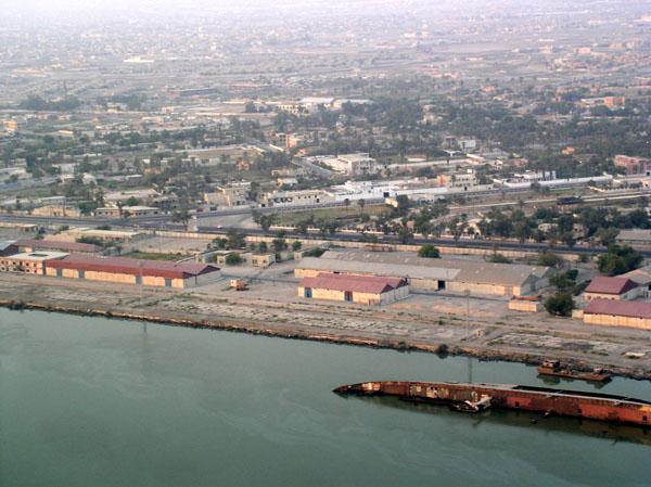 Basrah docks with shipwreck, Iraq