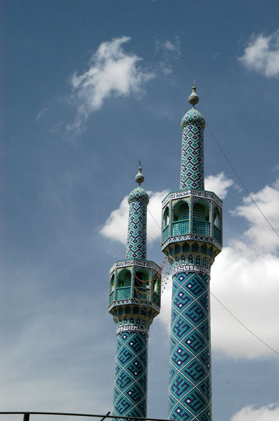 Minarets a mosque on the western side of Imam Khomeini Street