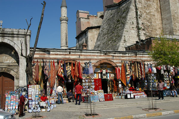 Shops built into the outer walls of the Aya Sofya along Babihümayun Cad
