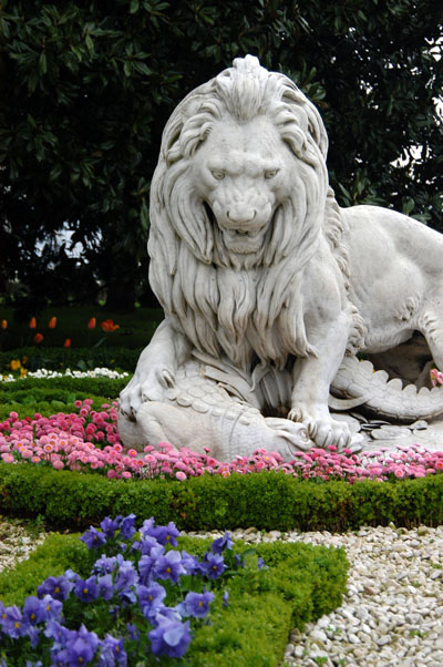 Lion sculpture set in the garden of Dolmabahce Palace