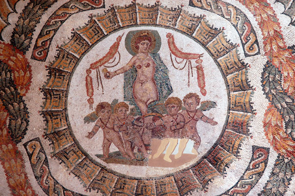 Venus standing on a chariot drawn by cupids, Thuburbo-Majus (Le Fahs) 4th C. AD