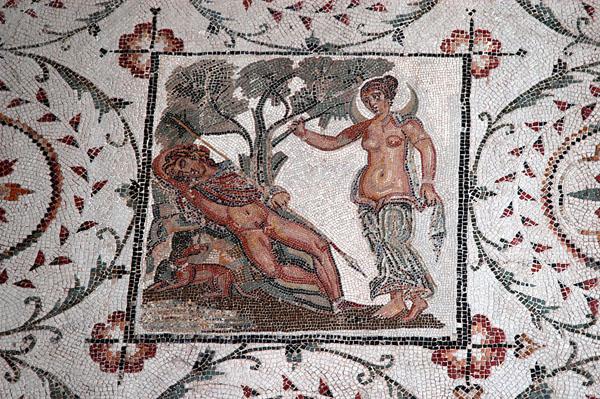 The goddess Selene gazing at the sleeping figure of the shepherd boy Endymion, granted eternal youth by Jupiter