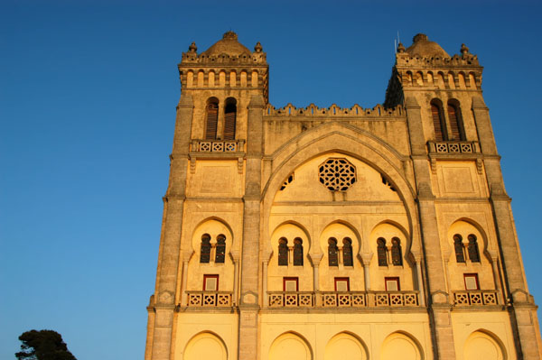 Late afternoon glow on the facade of the Damous el-Karita Basilica