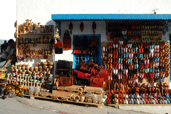 Shop selling colorful slippers and leather wares, Sidi Bou Said