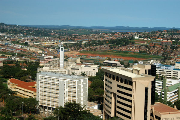 Central Kampala with City Hall tower, Port Bell in the distance