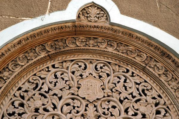 Intricate carving over a door, Stone Town, Zanzibar