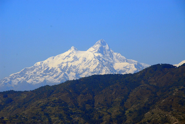 First view of Himalchuli (7893m/25,895ft) on the Prithvi Highway leaving Kathmandu
