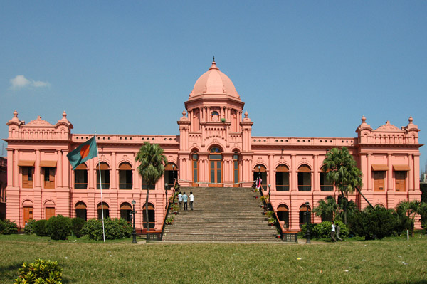 The most beautiful building in Old Dhaka, the Ahsan Manzil, built 1859-1872 as the seat of the Nawab of Dhaka