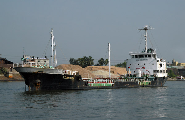 M.T. Madinah, a small tanker anchored in the Buriganga River downstream from Dhaka