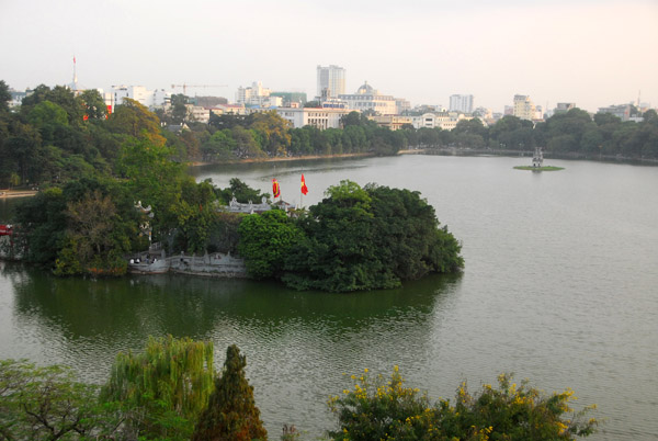 View of Hoan Kiem Lake and the island of Ngoc Son Temple from City View Cafe, Hanoi
