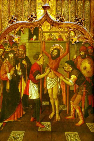 Altarpiece depicting the flaying of St. Bartolomew; Jaume Huguet, 1465-1480