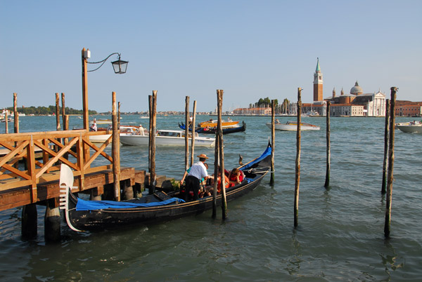 Venetian gondola tied up at the Molo, Basin of San Marco
