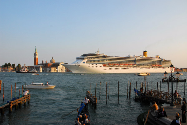 MS Costa Mediterranea sailing past the Doges Palace with San Giorgio Maggiore in the background