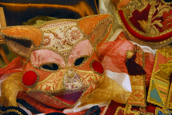 Fabric covered Carnival mask in the form of a cat