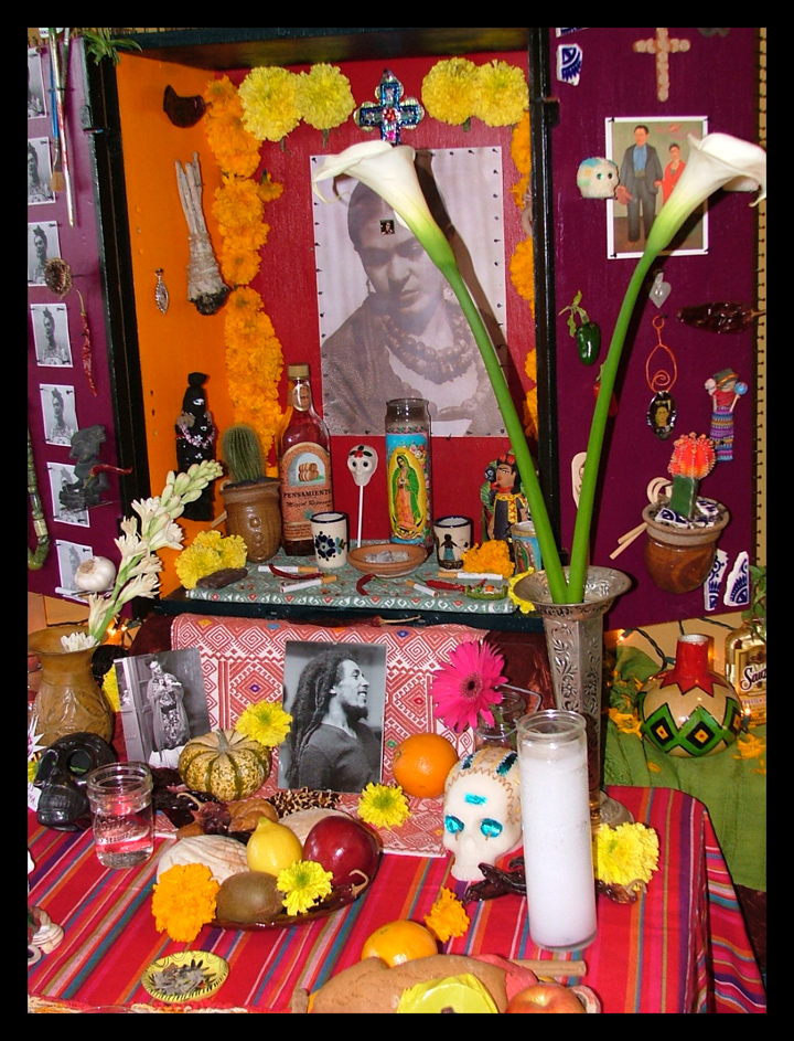 Frida alter with Virgen candle