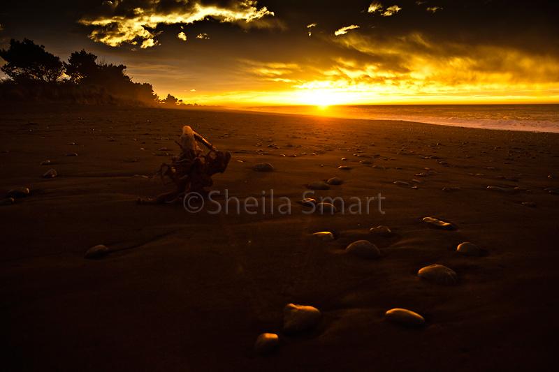 Stones on beach at sunrise