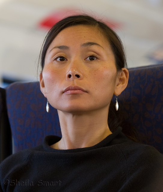 Young Asian woman on ferry