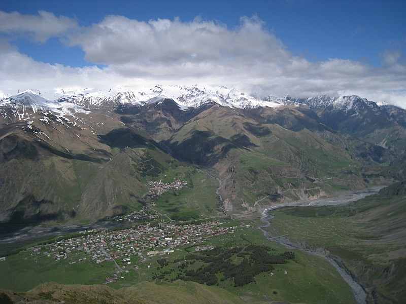 view on Kazbegi from slope of mount Kuro