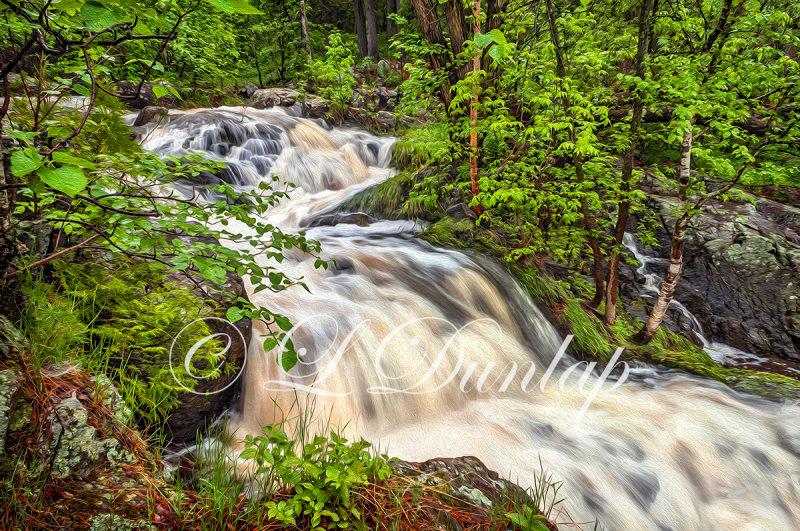 6.02 - Oil:  Duluth Parks:  Tischer Creek Cascade -- Photograph With Oil Paint Effect