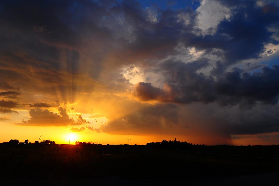 Sunset with Rainshaft