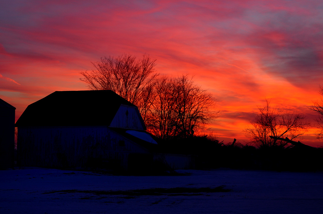 Sunset with Barn