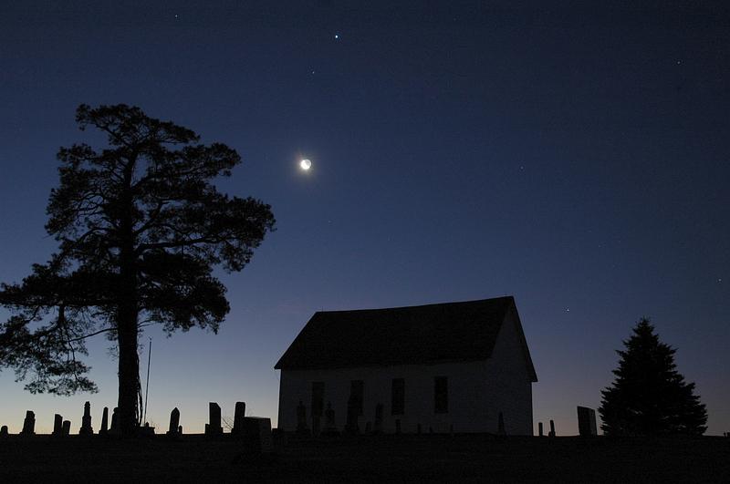 Moon & Jupiter over the Old Brick Church