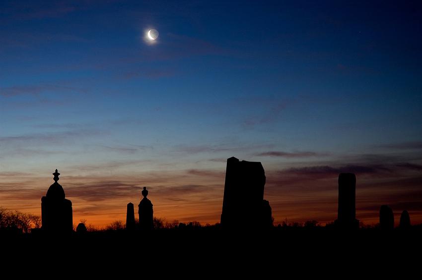 Moon at Sunrise (Old Brick Church)